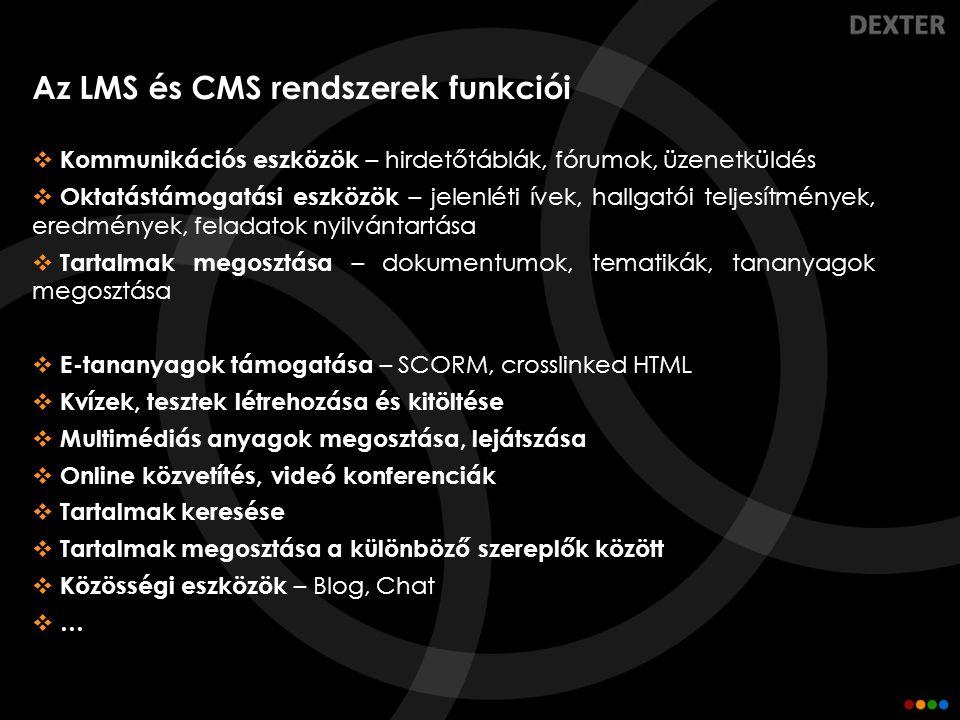 Az LMS és CMS rendszerek funkciói
