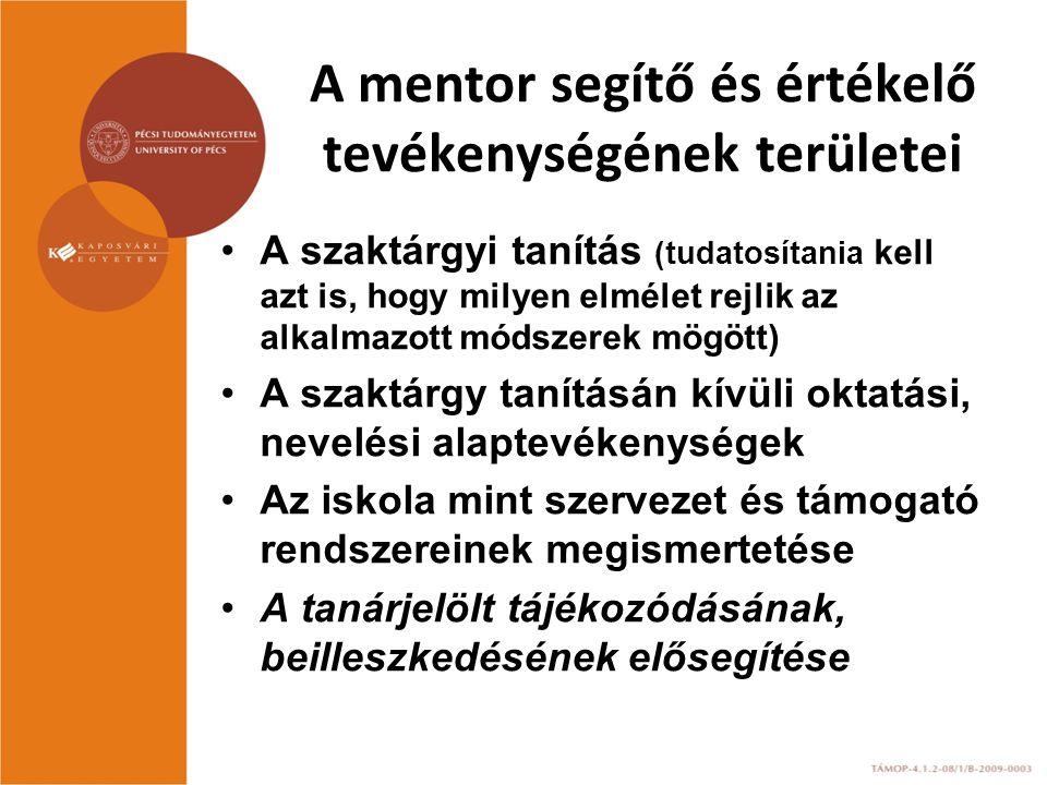 A mentor segítő és értékelő tevékenységének területei