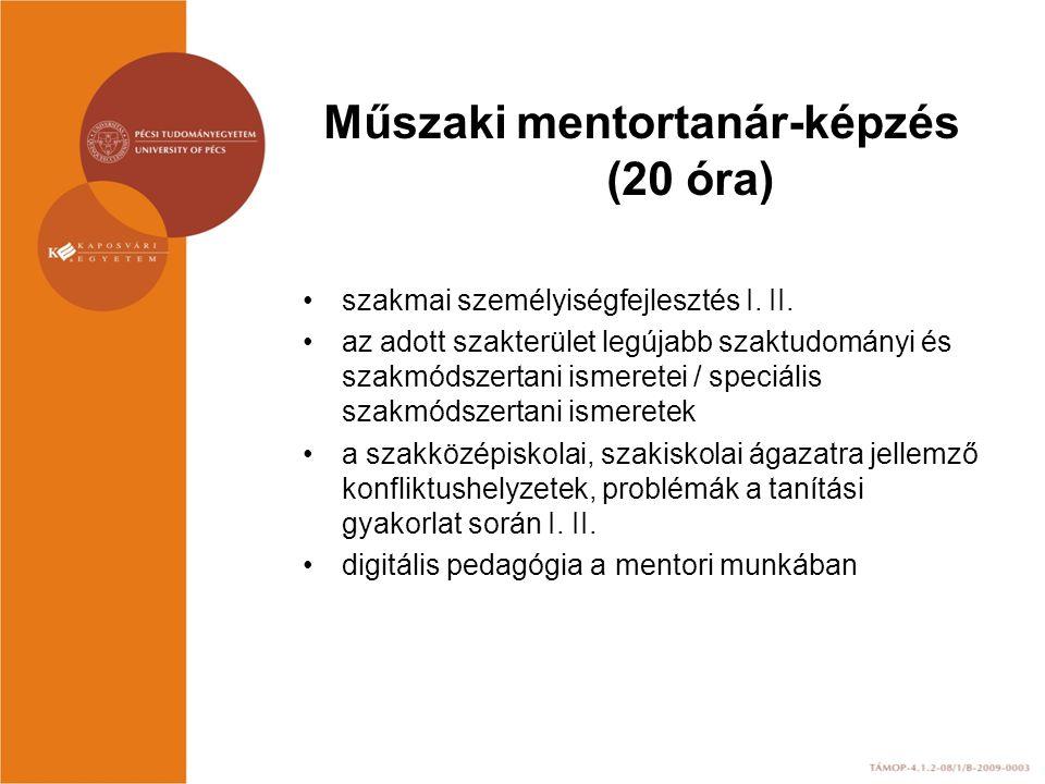 Műszaki mentortanár-képzés (20 óra)