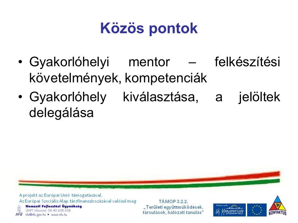 Közös pontok Gyakorlóhelyi mentor – felkészítési követelmények, kompetenciák.