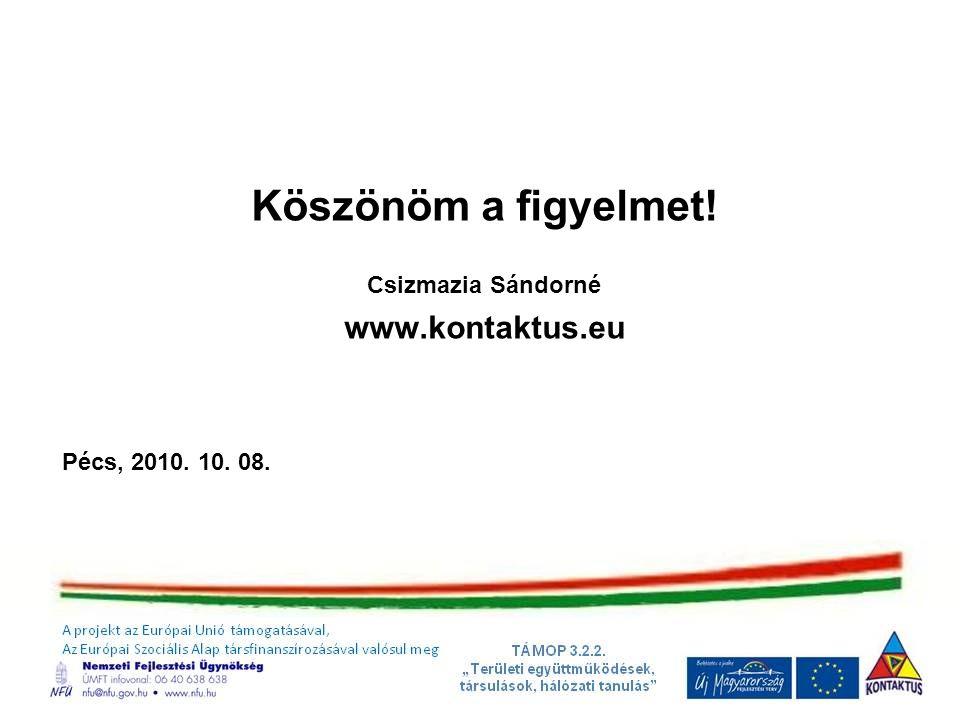 Köszönöm a figyelmet! www.kontaktus.eu Csizmazia Sándorné