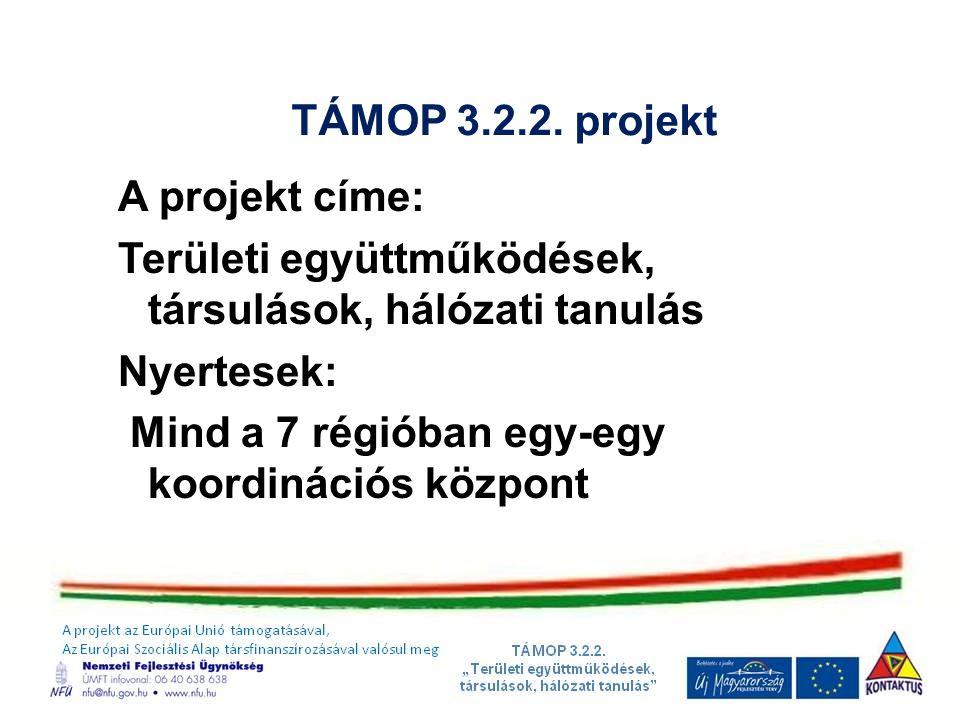TÁMOP 3.2.2. projekt A projekt címe: Területi együttműködések, társulások, hálózati tanulás. Nyertesek: