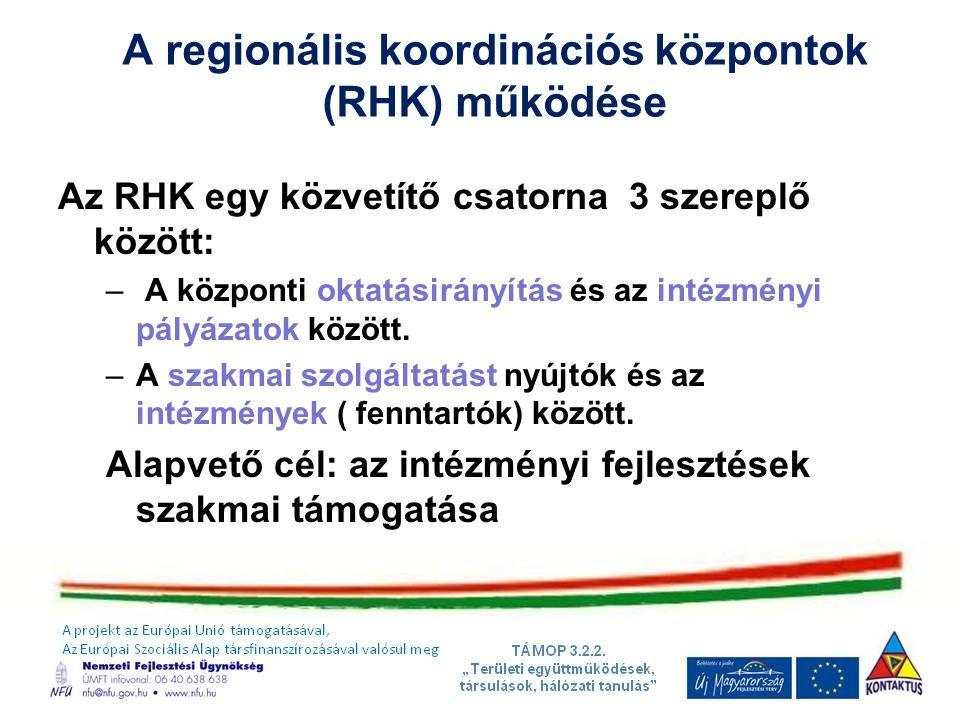 A regionális koordinációs központok (RHK) működése
