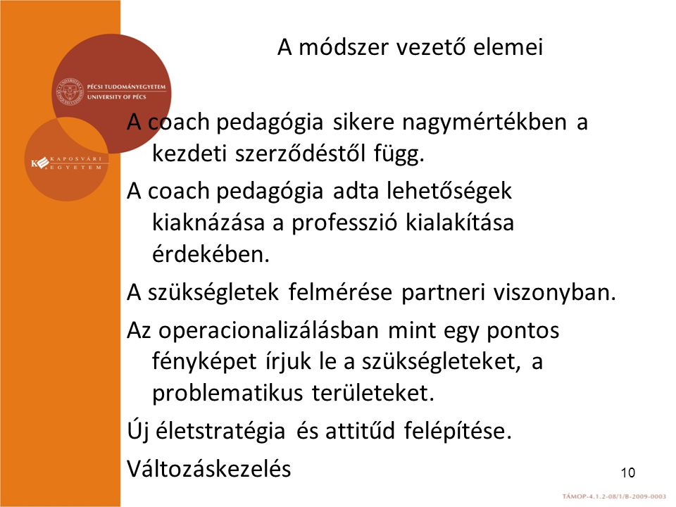 A módszer vezető elemei