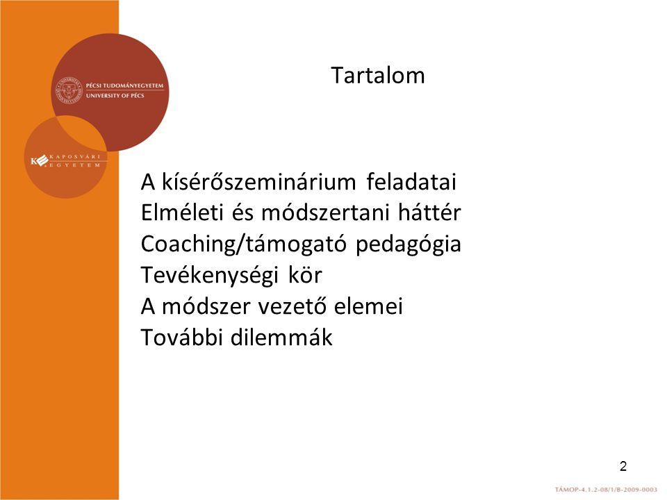 Tartalom A kísérőszeminárium feladatai. Elméleti és módszertani háttér. Coaching/támogató pedagógia.