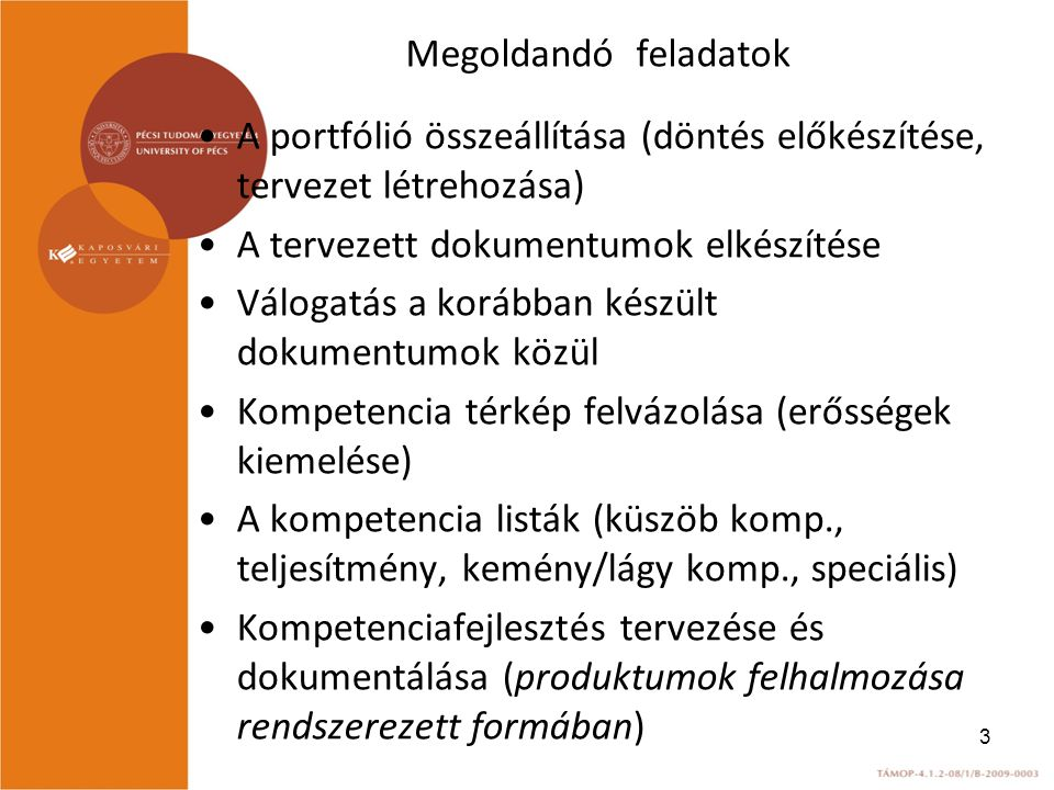 Megoldandó feladatok A portfólió összeállítása (döntés előkészítése, tervezet létrehozása) A tervezett dokumentumok elkészítése.