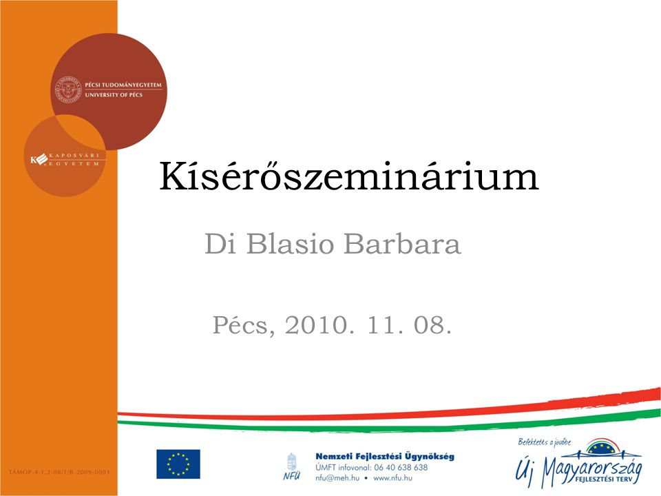 Kísérőszeminárium Di Blasio Barbara Pécs, 2010. 11. 08.