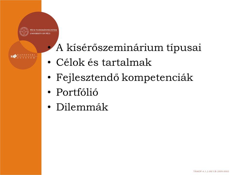 A kísérőszeminárium típusai