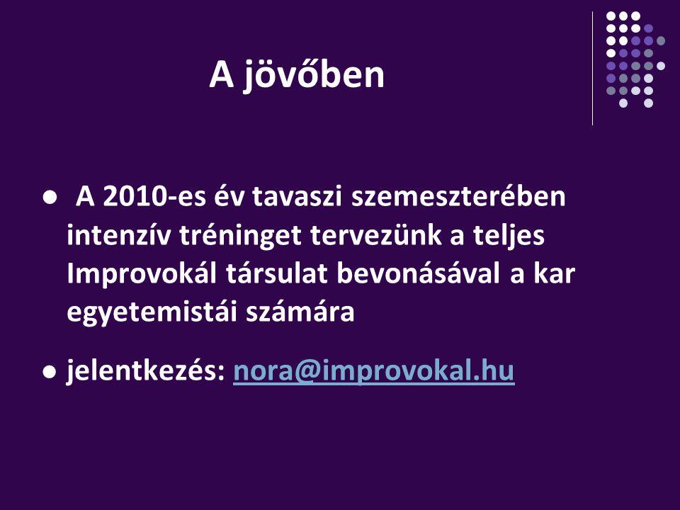 A jövőben A 2010-es év tavaszi szemeszterében intenzív tréninget tervezünk a teljes Improvokál társulat bevonásával a kar egyetemistái számára.