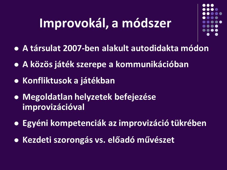 Improvokál, a módszer A társulat 2007-ben alakult autodidakta módon