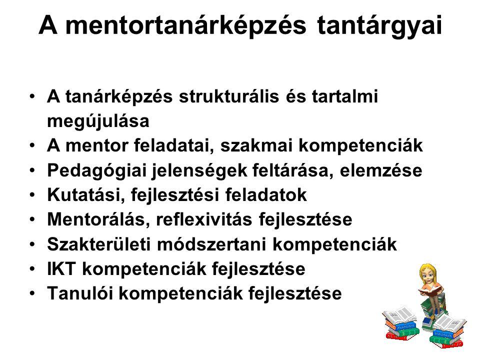 A mentortanárképzés tantárgyai