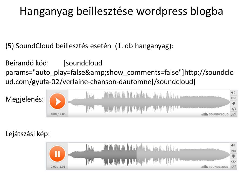 Hanganyag beillesztése wordpress blogba