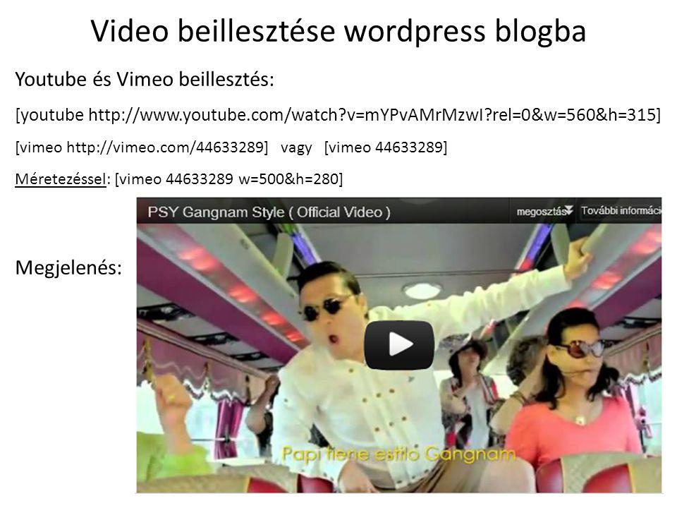 Video beillesztése wordpress blogba