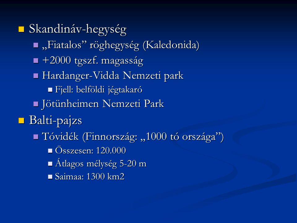 """Skandináv-hegység Balti-pajzs """"Fiatalos röghegység (Kaledonida)"""