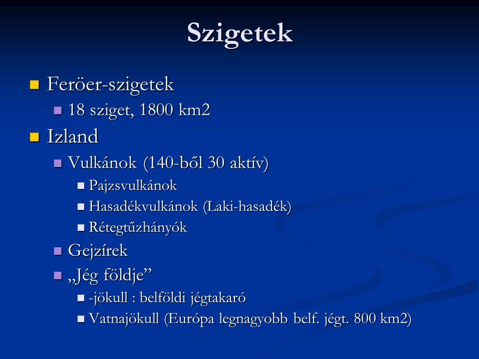 Szigetek Feröer-szigetek Izland 18 sziget, 1800 km2