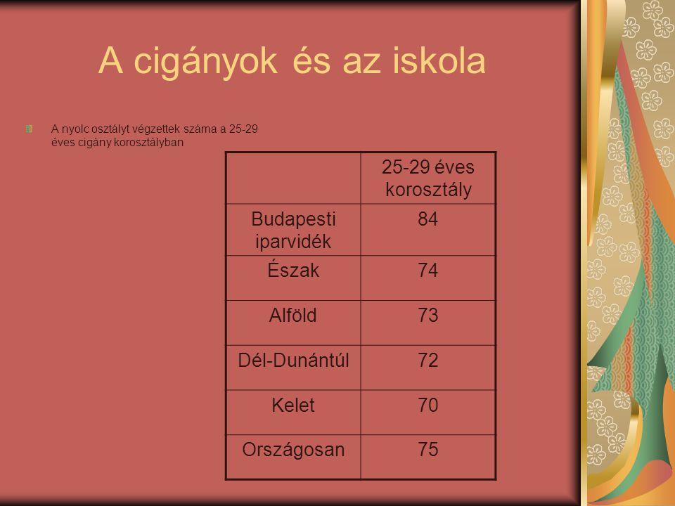 A cigányok és az iskola 25-29 éves korosztály Budapesti iparvidék 84