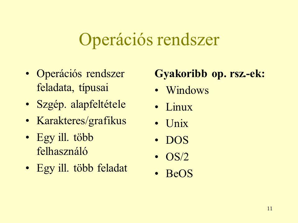 Operációs rendszer Operációs rendszer feladata, típusai