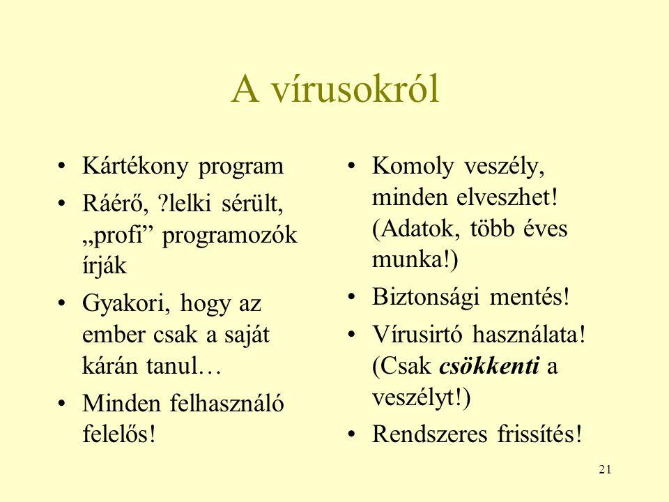 A vírusokról Kártékony program