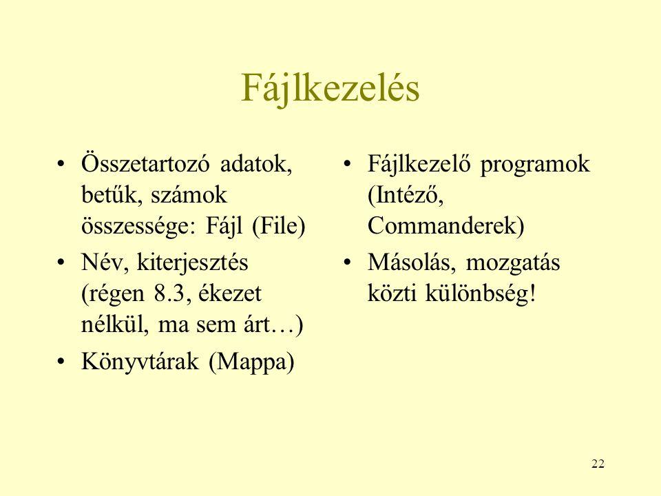Fájlkezelés Összetartozó adatok, betűk, számok összessége: Fájl (File)