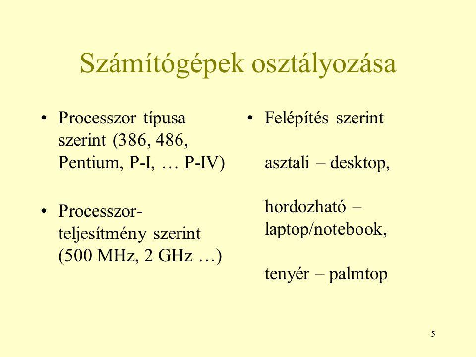 Számítógépek osztályozása