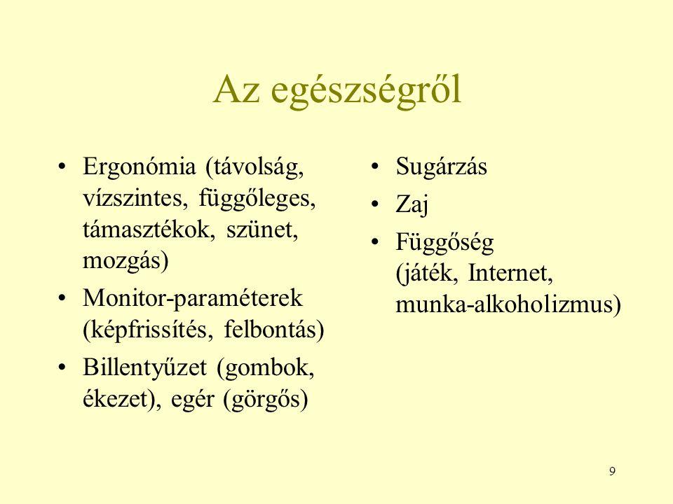 Az egészségről Ergonómia (távolság, vízszintes, függőleges, támasztékok, szünet, mozgás) Monitor-paraméterek (képfrissítés, felbontás)