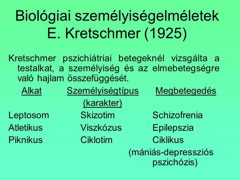 Biológiai személyiségelméletek E. Kretschmer (1925)