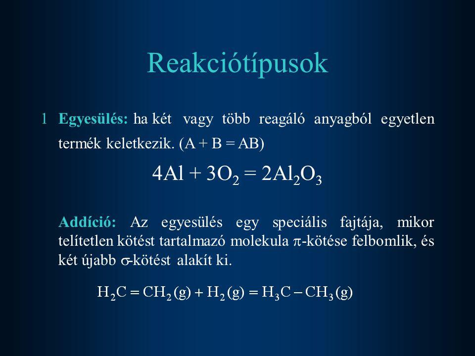 Reakciótípusok 4Al + 3O2 = 2Al2O3