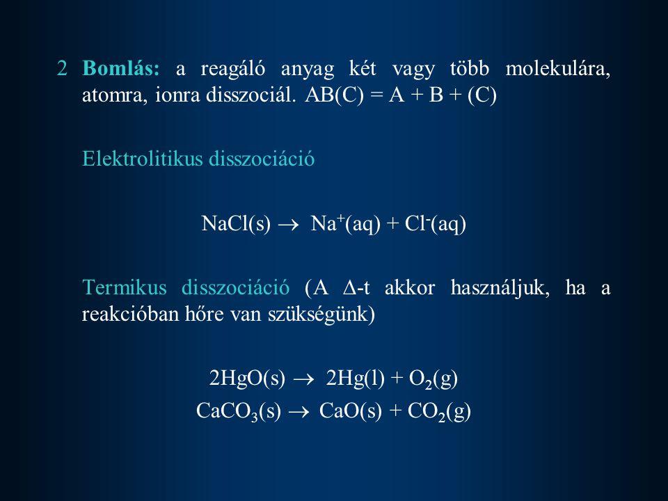 Elektrolitikus disszociáció NaCl(s)  Na+(aq) + Cl-(aq)
