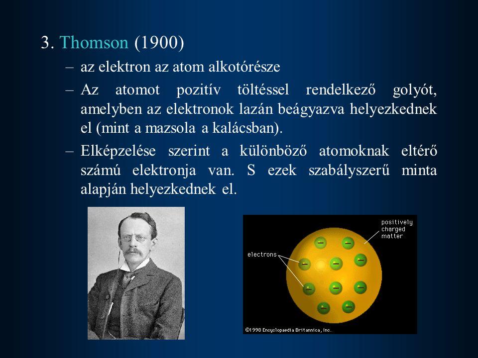 3. Thomson (1900) az elektron az atom alkotórésze