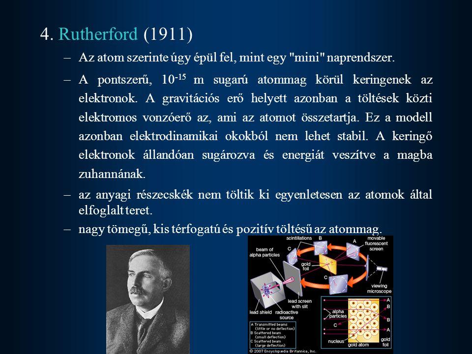 4. Rutherford (1911) Az atom szerinte úgy épül fel, mint egy mini naprendszer.