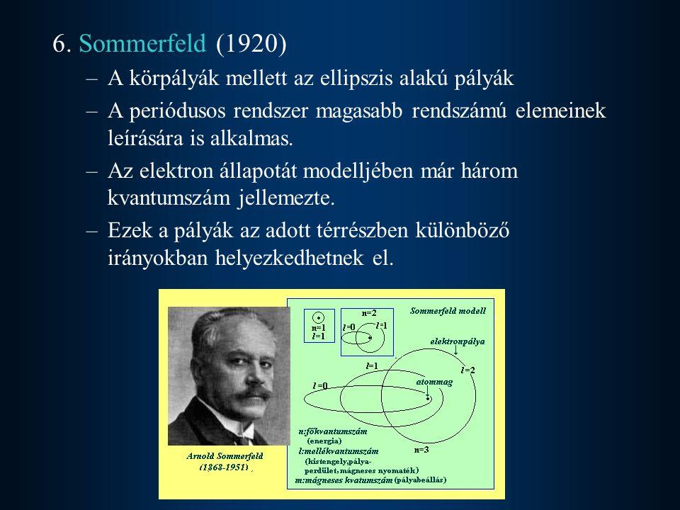 6. Sommerfeld (1920) A körpályák mellett az ellipszis alakú pályák