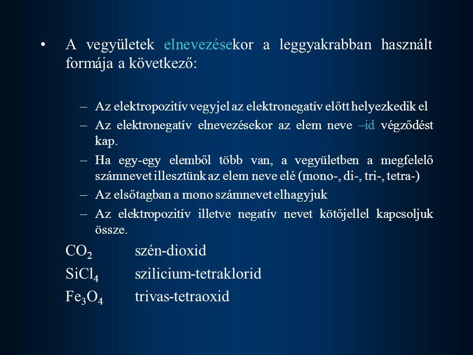 SiCl4 szilicium-tetraklorid Fe3O4 trivas-tetraoxid
