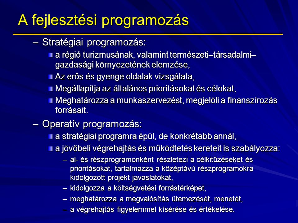 A fejlesztési programozás