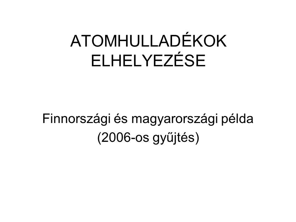 ATOMHULLADÉKOK ELHELYEZÉSE