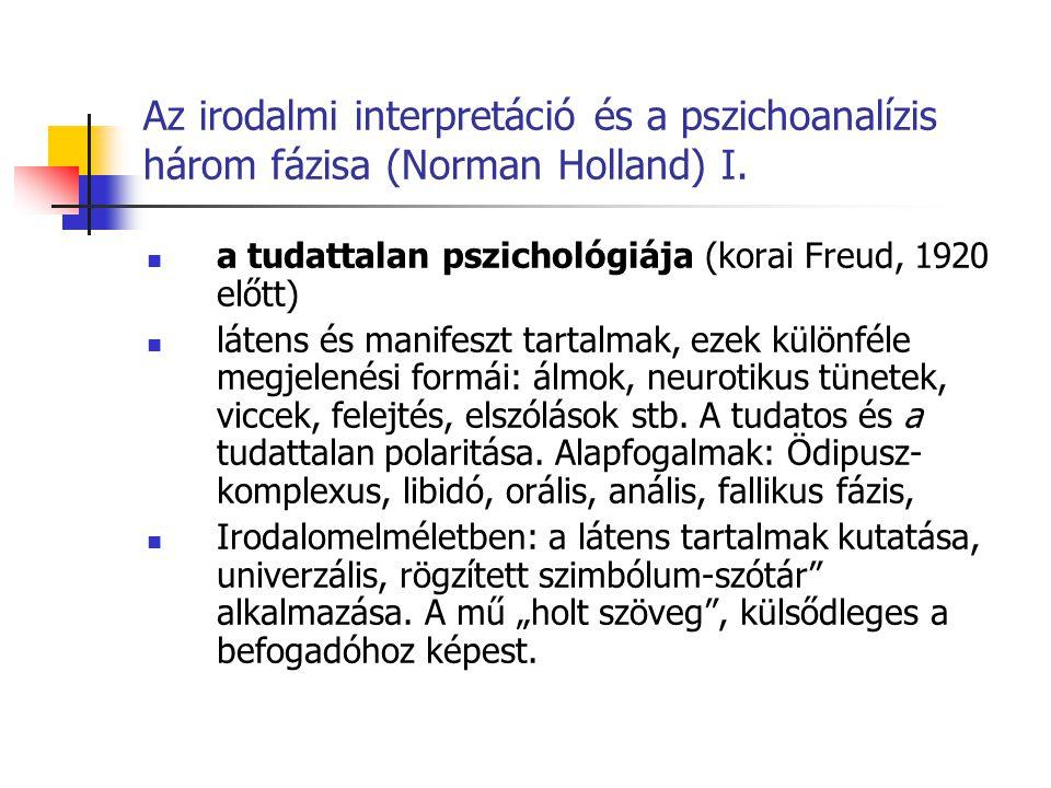 Az irodalmi interpretáció és a pszichoanalízis három fázisa (Norman Holland) I.