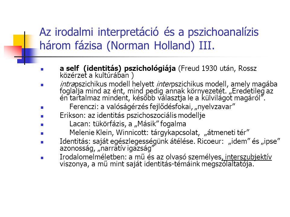 Az irodalmi interpretáció és a pszichoanalízis három fázisa (Norman Holland) III.
