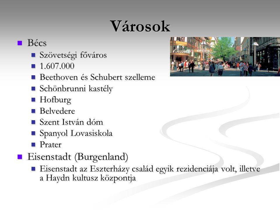 Városok Bécs Eisenstadt (Burgenland) Szövetségi főváros 1.607.000