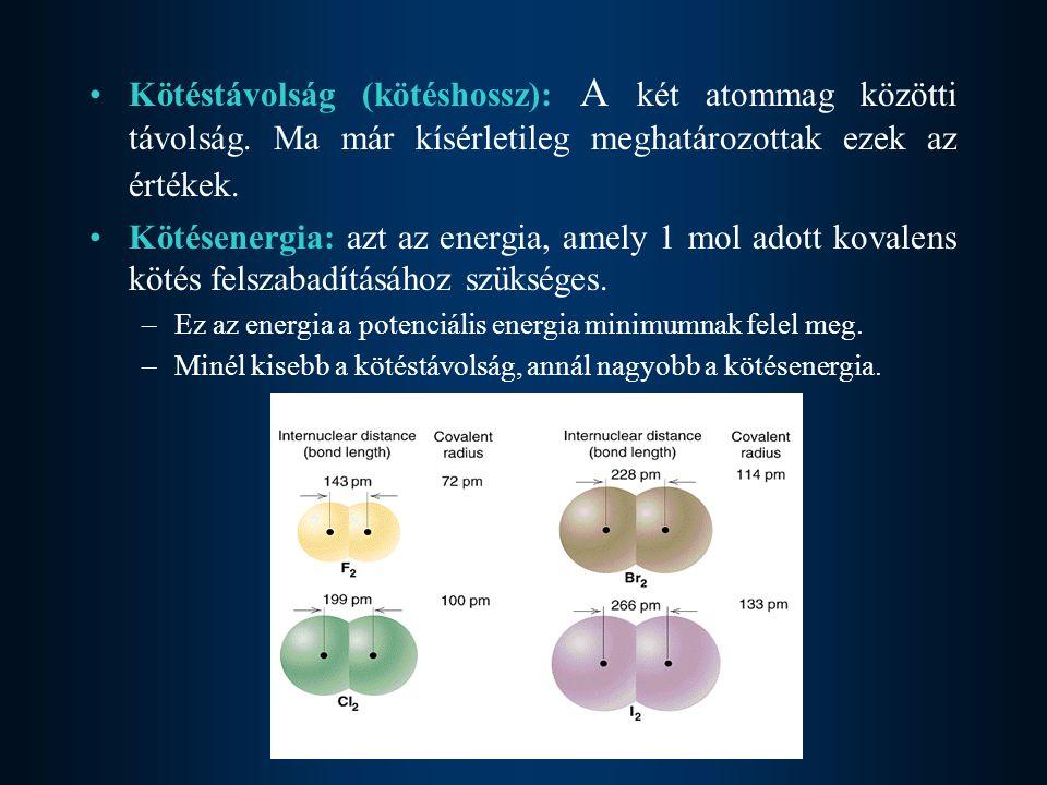 Kötéstávolság (kötéshossz): A két atommag közötti távolság