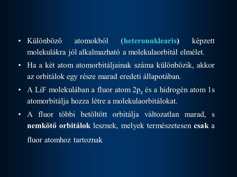 Különböző atomokból (heteronuklearis) képzett molekulákra jól alkalmazható a molekulaorbitál elmélet.
