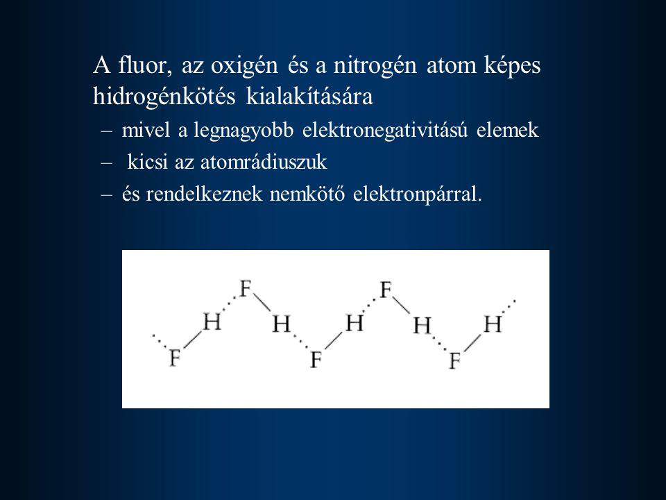 A fluor, az oxigén és a nitrogén atom képes hidrogénkötés kialakítására