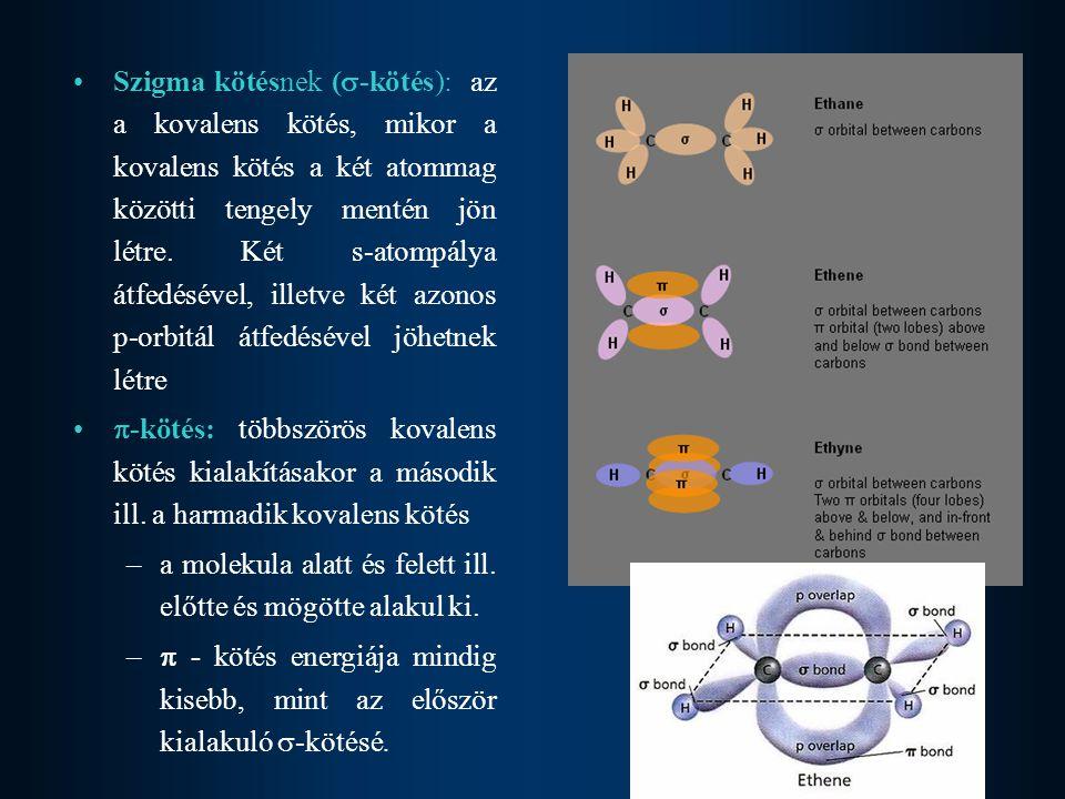 Szigma kötésnek (-kötés): az a kovalens kötés, mikor a kovalens kötés a két atommag közötti tengely mentén jön létre. Két s-atompálya átfedésével, illetve két azonos p-orbitál átfedésével jöhetnek létre