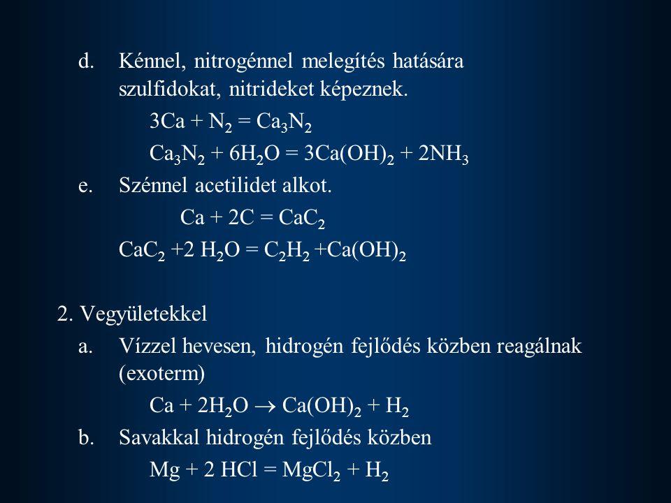d. Kénnel, nitrogénnel melegítés hatására