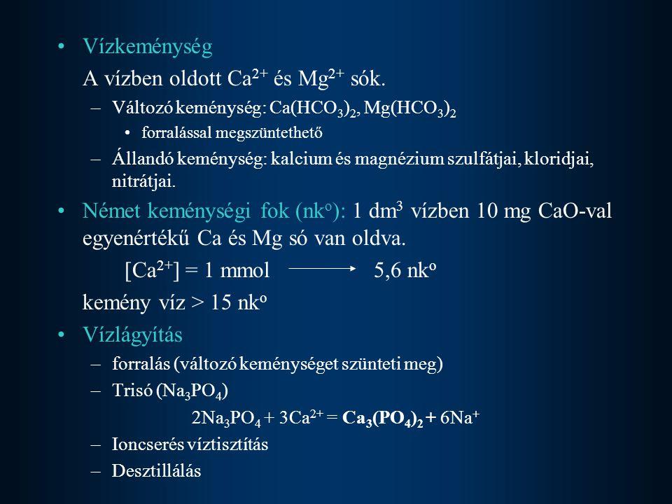 A vízben oldott Ca2+ és Mg2+ sók.