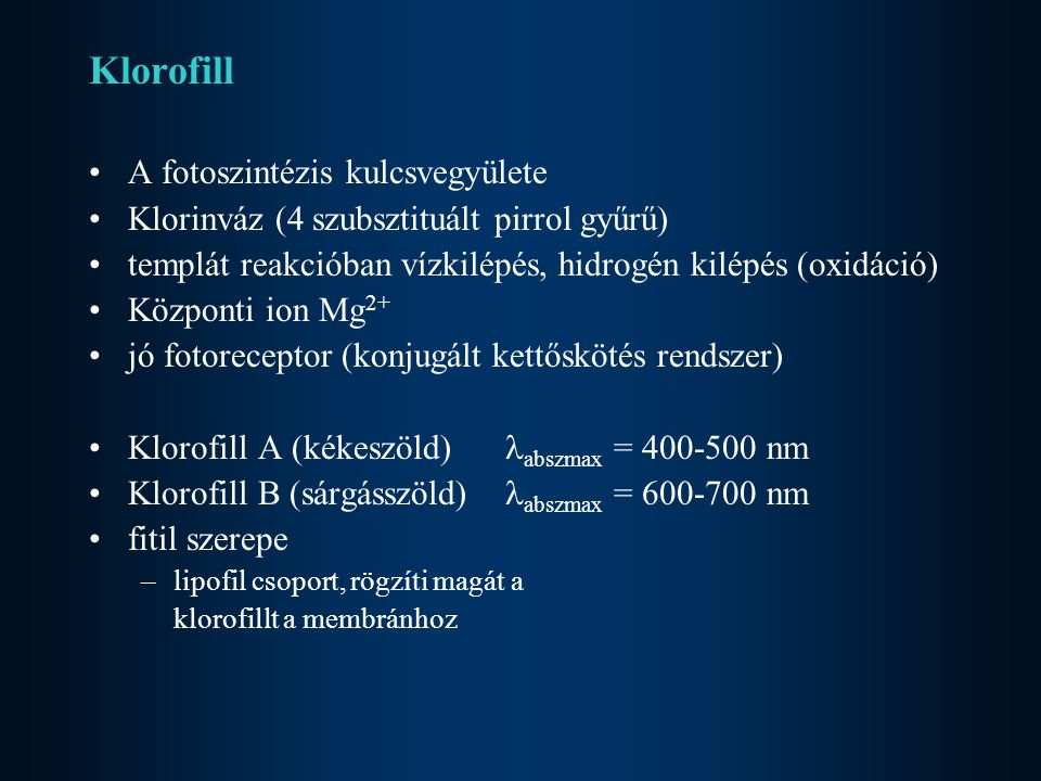Klorofill A fotoszintézis kulcsvegyülete