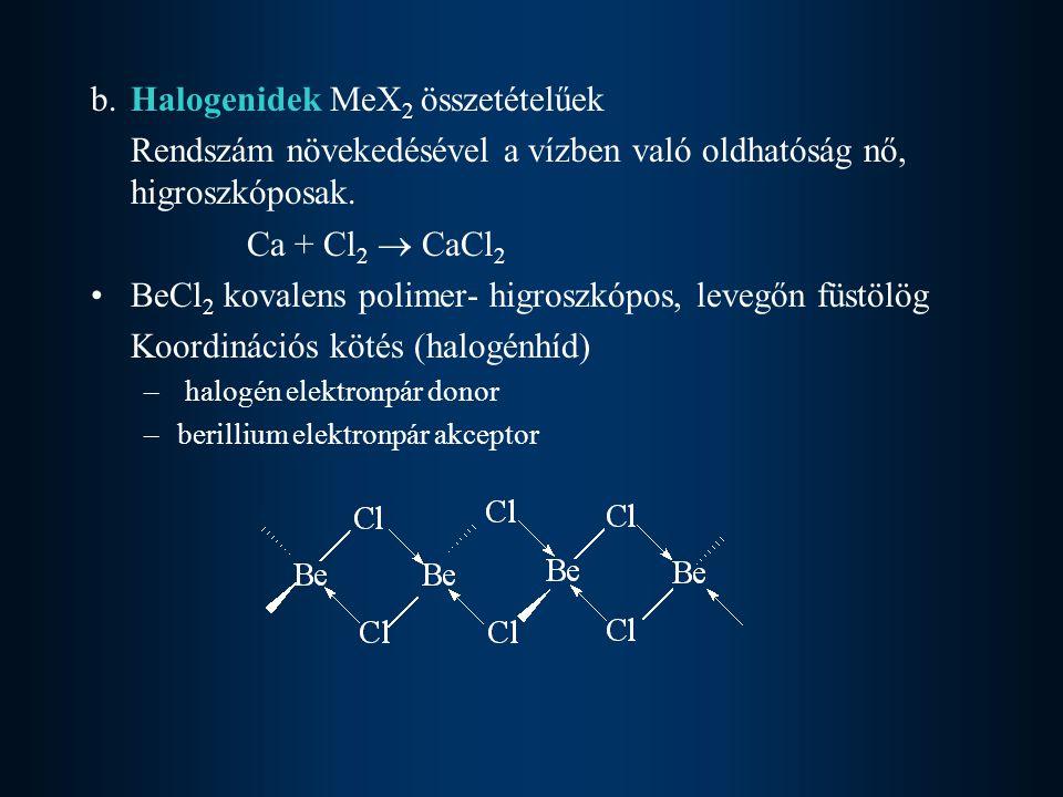 b. Halogenidek MeX2 összetételűek