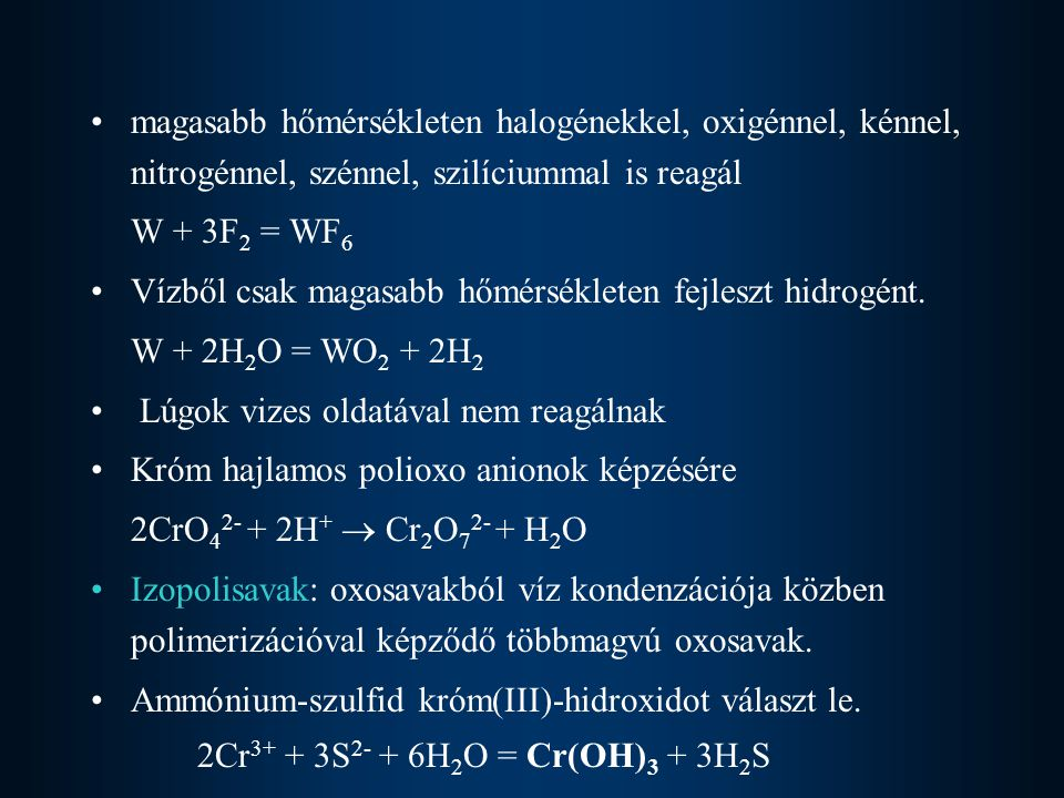 magasabb hőmérsékleten halogénekkel, oxigénnel, kénnel, nitrogénnel, szénnel, szilíciummal is reagál
