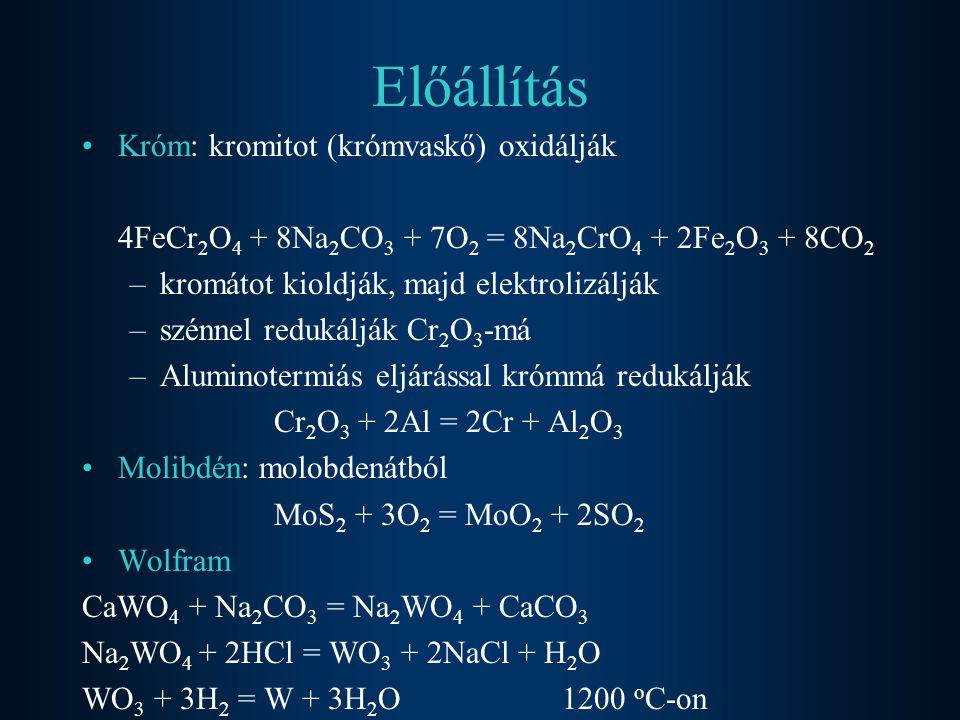 Előállítás Króm: kromitot (krómvaskő) oxidálják