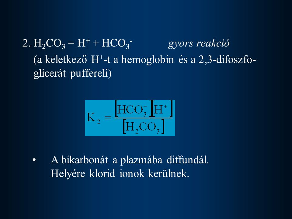 2. H2CO3 = H+ + HCO3- gyors reakció