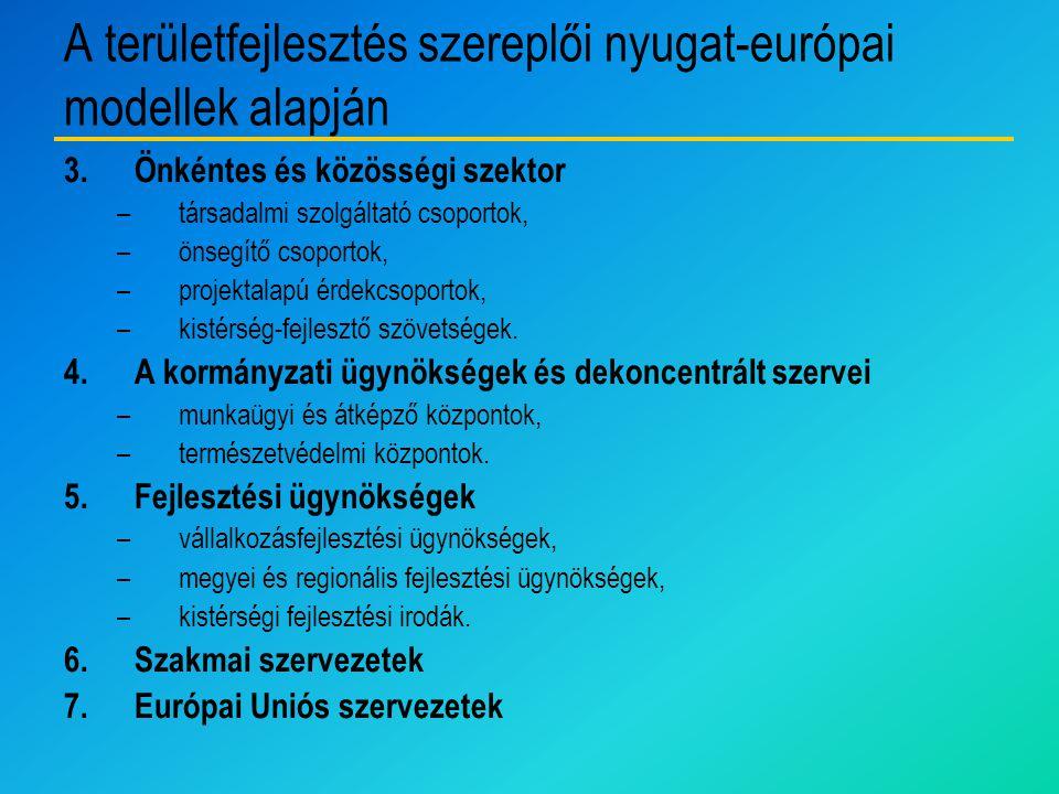 A területfejlesztés szereplői nyugat-európai modellek alapján