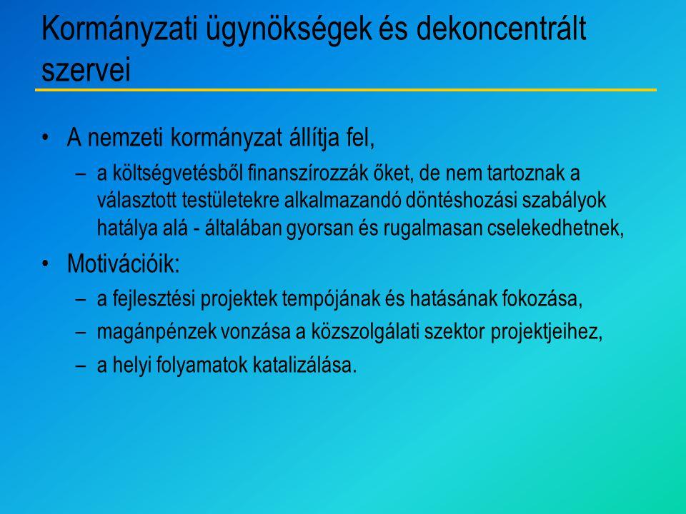 Kormányzati ügynökségek és dekoncentrált szervei
